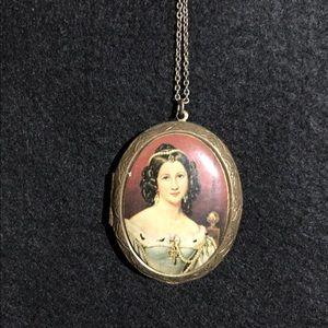 Portrait locket necklace